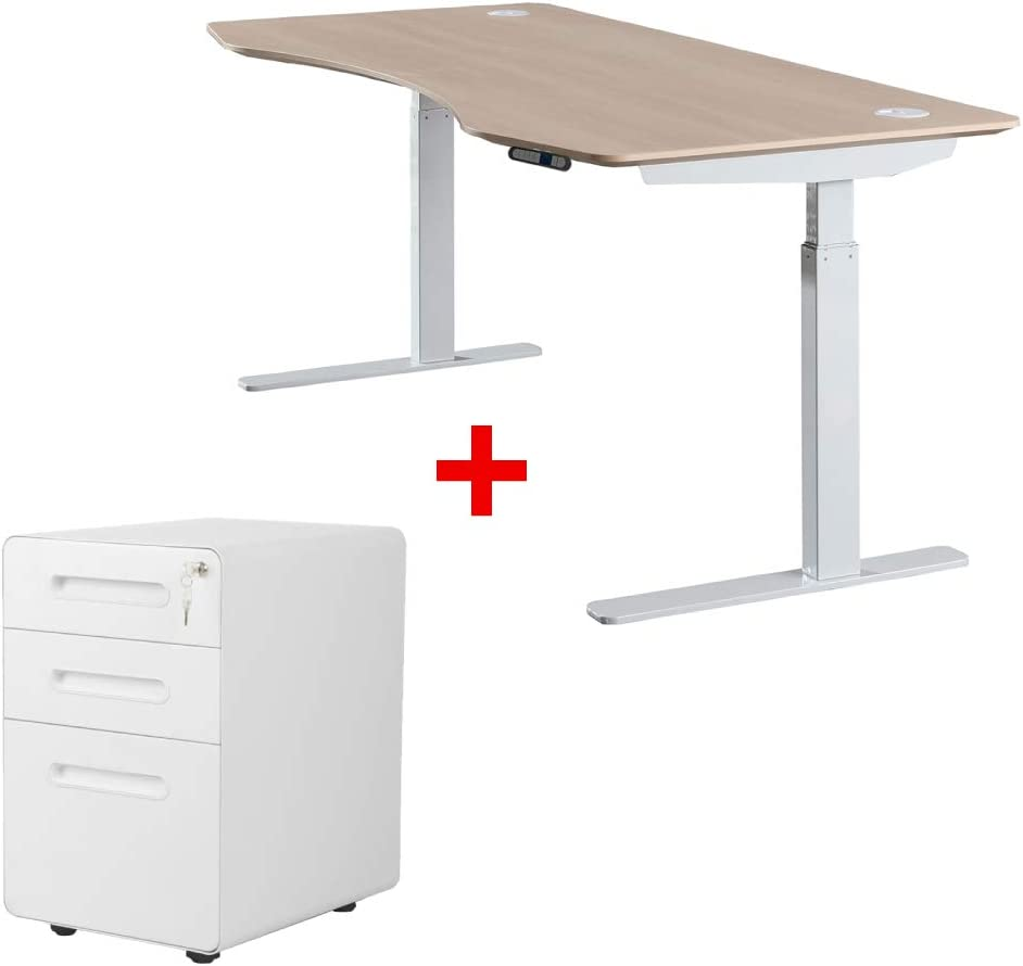 "ApexDesk Elite Series 60"" Electric Height Adjustable Standing Desk with White File Cabinet (Bundle - Light Oak 60"" Standing Desk and File Cabinet)"