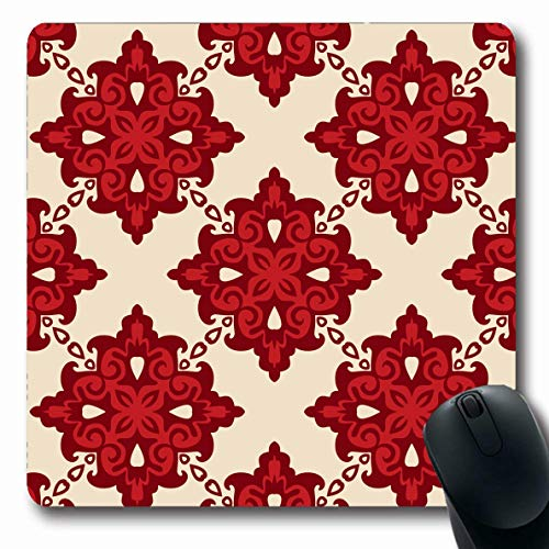 Ahawoso Mousepad Oblong 7.9x9.8 Inches Ornamental Red Pattern Damask Winter Christmas Tiled Abstract Baroque Medallion Paisley Indian Mouse Pad Non-Slip Rubber for Notebook Laptop PC Computer