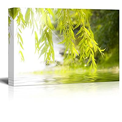Tree Framing a Serene Lake - Canvas Art Home Art - 12x18 inches