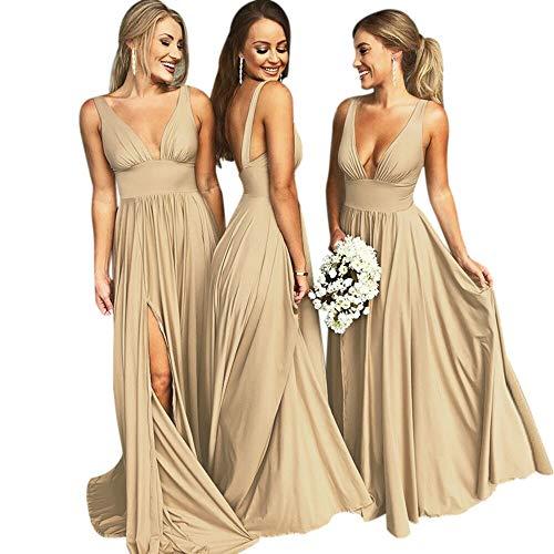 VinBridal V-Neck Backless Long Slit Side Beach Wedding Bridesmaid Dresses Champagne -