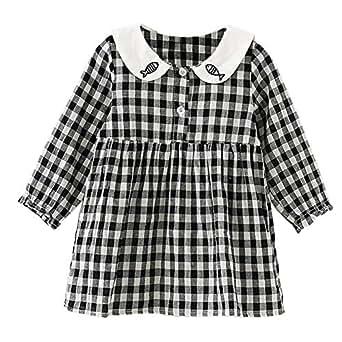 Amazon.com: baywell vestido de bebé niña de cuadros ...