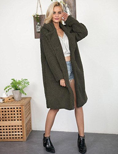 Manteau Peau Coupe Mouton Imitation De Vestes Oversize Hiver Vert Cocon Femme OVERDOSE Fausse Fourrure Fwqt1fS