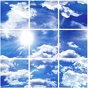 Amazon Com Udecor Big Blue Sky Ceiling Tiles 9 Piece