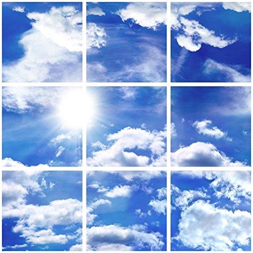 Udecor Big Blue Sky Ceiling Tiles - 9 Piece Set - 2x2 - G