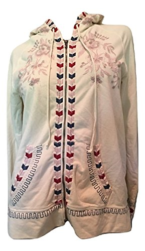 Johnny Was Women's Zoe Embroidered Zip-Front Hoodie Jacket, BIE Multi, Medium - Embroidered Hoodie Jacket