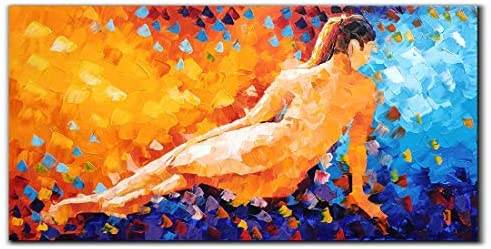 Yika Art Paintings, 24×48 Inch Abstract Painting Sexy Girl 3D Hand-Painted On Canvas Wall Decoration for Living Room Bedroom Hallway Office Ready to Hang – Naked Woman