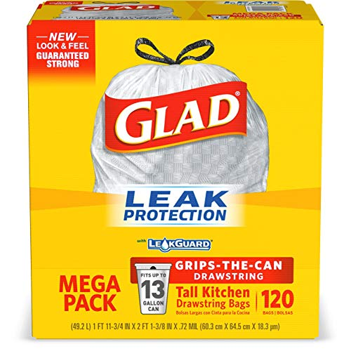 Glad Tall Kitchen Drawstring Trash Bags - 13 Gallon - 120 Count (Packaging May Vary)