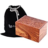 Exclusive Solid Rosewood Tree of Life Carved Design by Divinityurns, Handcarved Wood Urn - Large, Cremation Urn, Wooden Urn