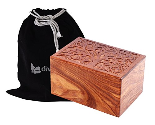 Exclusive Solid Rosewood Tree of Life carved Design by Divinityurns, Handcarved Wood Urn - Large, Cremation Urn, Wooden Urn by Divinityurns