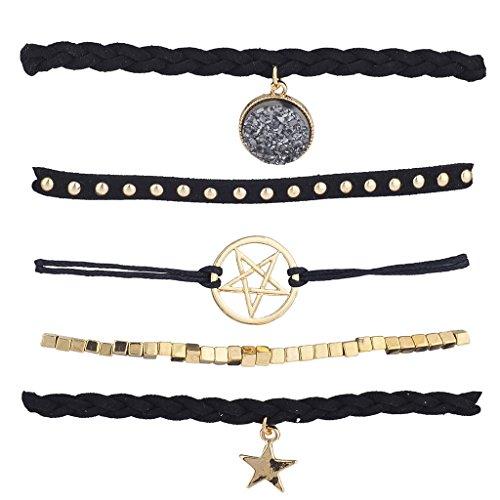 Lux Accessories GoldTone Black Suede Druzy Pentagram Star Arm Candy Bracelet Set