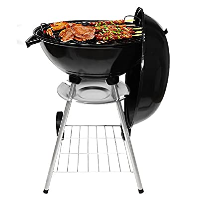Charcoal Grill 17in with Steel Cooking Grate for Home Garden Barbecue Tool Sets Outdoor Smokers BBQ grilling charcoal Round Portable Charcoal Kettle Grills for Backyard Tailgate Party Camping by B&G Beautiful Gardener