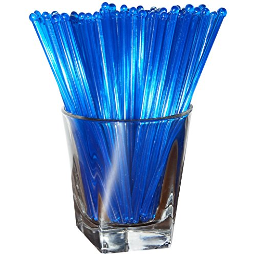 Royer 6 Inch Round Top Swizzle Sticks, Set of 48, Fluorescent Day-Glow Blue - Made In USA