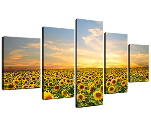 Sun Flower Canvas Wall Art for Living Room Bedroom Home Decor Framed Wall Paintings Flower Sea Pictures Prints and Poster Artwork 5 Piece Ready to Hang (60X32 ()