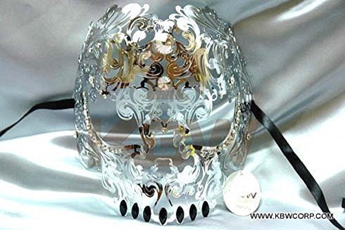 Venetian Luxury Style Metal Filigree Skull Silver Masquerade Mask (Feathered Masquerade Mask)