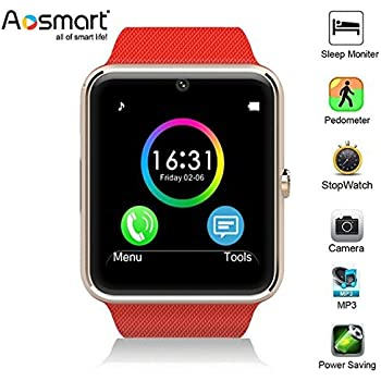 Bluetooth Smart Watch, Aosmart G88 Smartwatch for Android Smartphones (Red)
