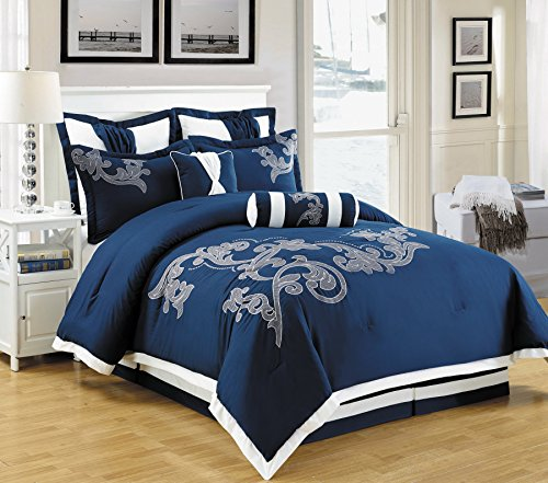8 Piece Dulce Mega Floral Embroidery Bed in a Bag Comforter Navy Blue, White Queen Size