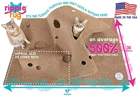 SnugglyCat The Ripple Rug - Made in USA - Cat Activity Play Mat - Thermally Insulated Base - Fun Interactive Play - Training - Scratching - Bed Mat 4