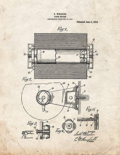 Toilet Paper Holder Patent Print Art Poster Old Look (8.5