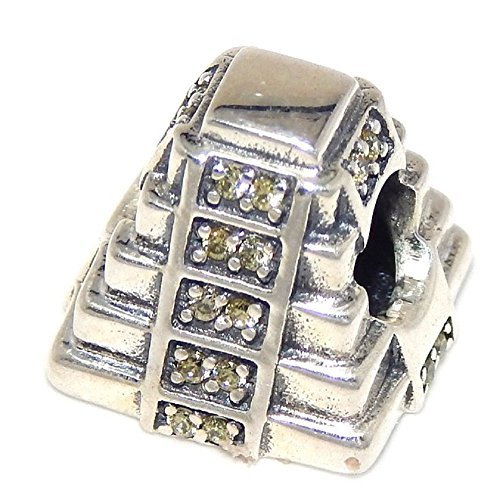 925 Solid Sterling Silver Mayan Pyramid with Yellow Crystals Charm Bead