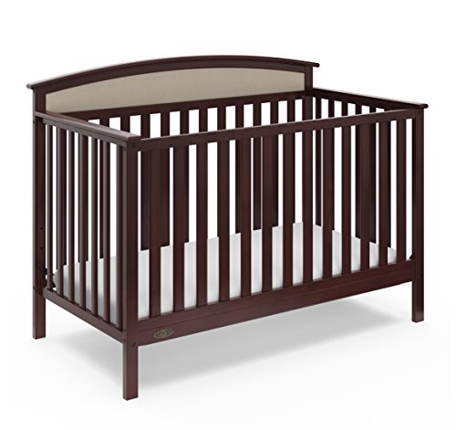 Graco Everly 5-in-1 Upholstered Convertible Crib with Reversible Headboard Espresso/Sand Easily Converts to Toddler Bed Day Bed or Full Bed Adjustable Height Mattress (Mattress Not Included) ()