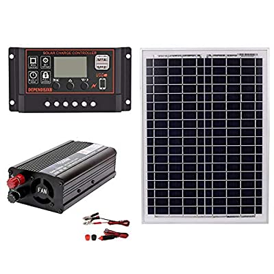 Taimot 1500W Class A Polycrystalline Bundle Solar Panel Kit with AC220V 1500W Solar Power Generation System for Outdoor Home Solar Panel 18V20W Solar Panel+Solar Controller+Inverter Kit