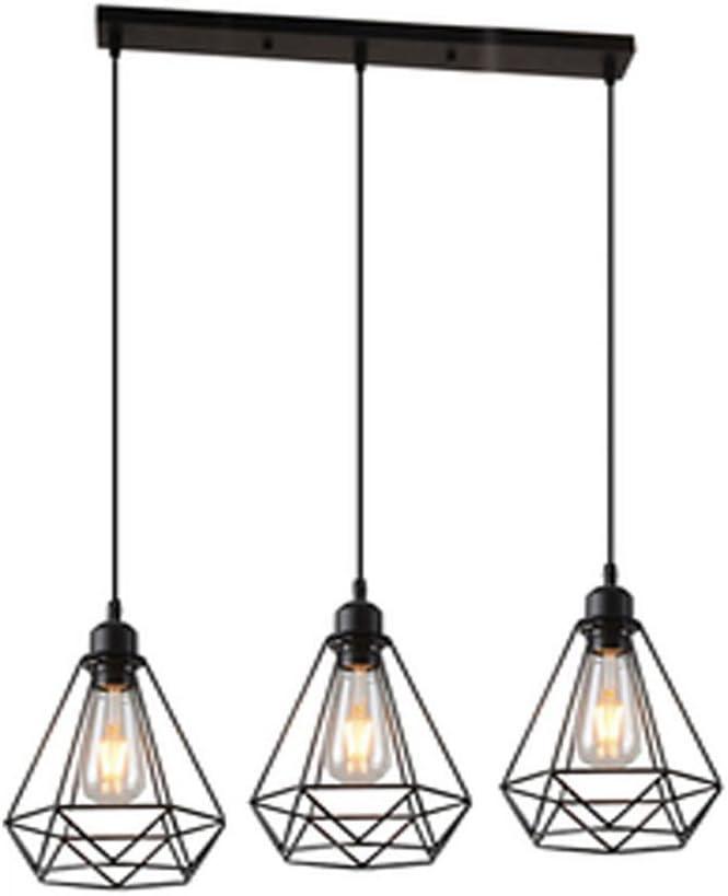 Vintage Araña en Forma de Diamante Lámpara de Techo Colgante Retro Industrial E27 3 Luces Iluminación Cocina Comedor Sala de estar Restaurante, Negro
