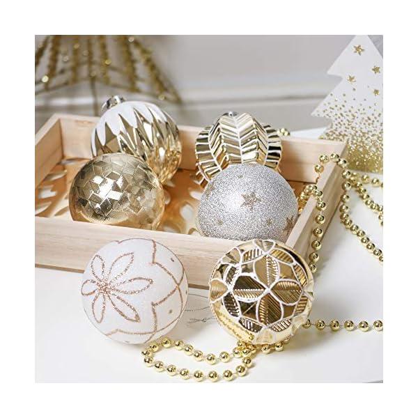 Valery Madelyn Palle di Natale 16 Pezzi 8cm Palline di Natale, Eleganti Ornamenti di Palle di Natale Infrangibili in Oro e Bianco per la Decorazione Dell'Albero di Natale 6 spesavip