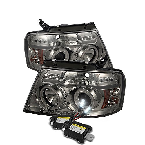 Low Beam 6000k Slim Xenon HID Kit +Ford F150 Projector Headlights Version 2 CCFL Halo LED Light Smoke Lens With Chrome ()