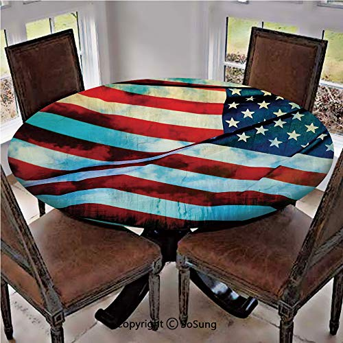SoSung Elastic Edged Polyester Fitted Table Cover,American Flag in The Wind on Flagpole Memorial Patriot History Image,Fits up 40