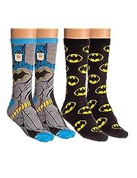 DC Comics Unisex Casual Crew Socks - 2 Pack (Batman)
