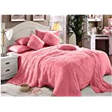 Faux Fur Luxe Soft 6 Pieces Double Comforter Set - Pink