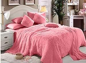 Faux Fur Luxe Soft 6 Pieces Double Comforter Set - Pink