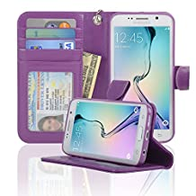 Samsung Galaxy S6 Edge Wallet Folio Leather Case with Four Card Pockets & Money Slot, Removable Strap - Navor (Purple)