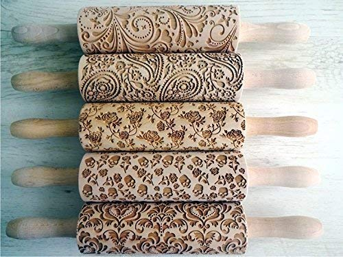 5 ANY pattern Our shop OFFers the best service Tucson Mall Rolling Pin SET EMBOSSING ROLLING engraved Laser P
