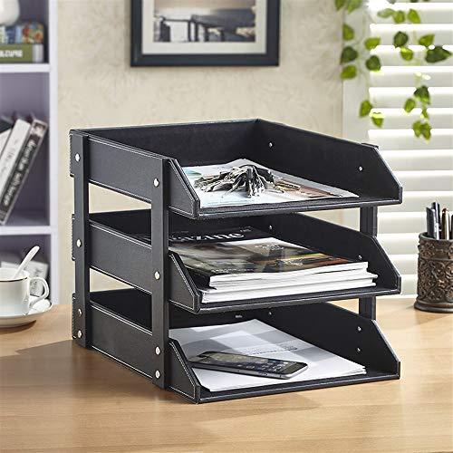- Sevenpring Storage Rack Three-Layer Desktop File Holder Data Shelf Leather Multi-Layer Office Supplies Stationery Storage Box Rack Wooden (Color : Dark Brown)