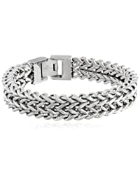 Men's Stainless Steel Two-Strand Wheat Chain Bracelet, 8.5""