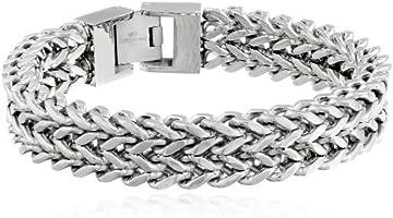 Pulsera de acero inoxidable para hombre con cadena de trigo de dos cuerdas, 21,6 cm