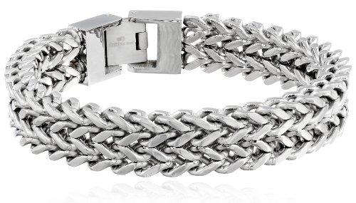 Men's Stainless Steel Two-Strand Wheat Chain Bracelet, 8.5