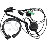 SUNDELY® Military Grade Tactical Throat Mic Headset/Earpiece with BIG Finger PTT for Motorola Radios Walkie Talkie XTS5000R HT1000