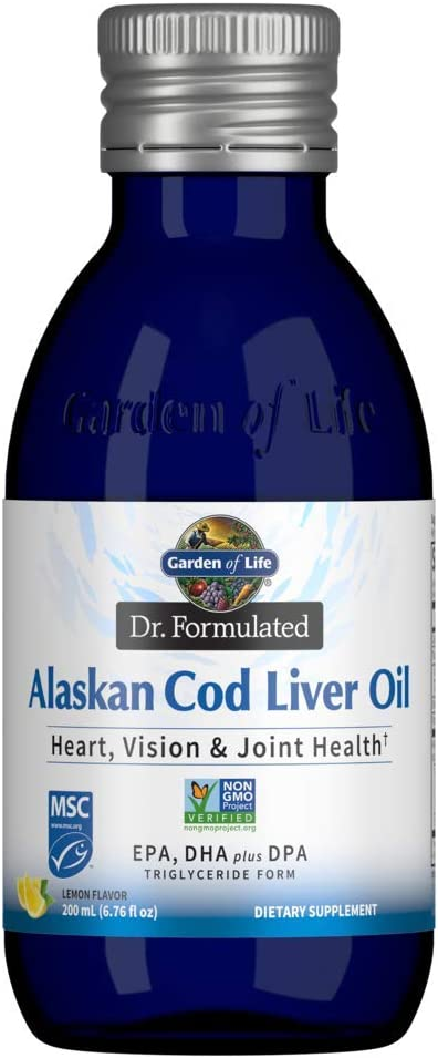 Garden of Life Dr. Formulated Alaskan Cod Liver Oil - Lemon Flavor, 40 Servings - 1000 mg Omega 3s (EPA, DHA & DPA) + Vitamins A & D, Non-GMO, Sustainably Sourced & Line-Caught, 200mL (6.76 fl oz)