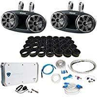 Kicker 41KMT674 6.75 Marine Wakeboard Speakers+Tweeters+4 Ch Amplifier+Amp Kit