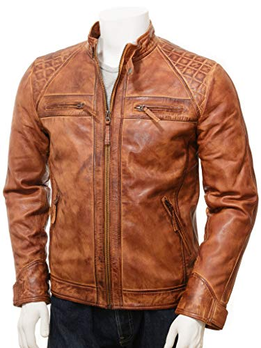 Leather Jackets Men - Distressed Vintage Real Leather Jacket - Cafe Racer Leather Jacket (Tan Brown - Classic Diamond Leather Jacket, XX-Large/Body Chest 46
