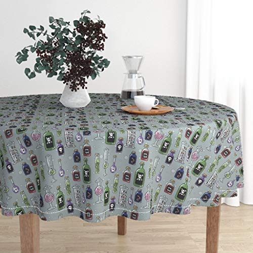 Roostery Round Tablecloth - Halloween Fabric Witch Potion Witches Pantry Creepy Fabric Cute Bottles by Amber Morgan - Cotton Sateen Tablecloth 90in]()