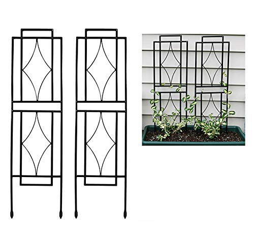 (Decorate Your Garden with 2 Pcs Rack Stand Plant Ivy Climber Crawler Creeper Vine Trellises Plant Supports Thick Steel Lattice Patio Lawn Balcony Growth Fence Grapevines Roses Vegetables 30 x 8