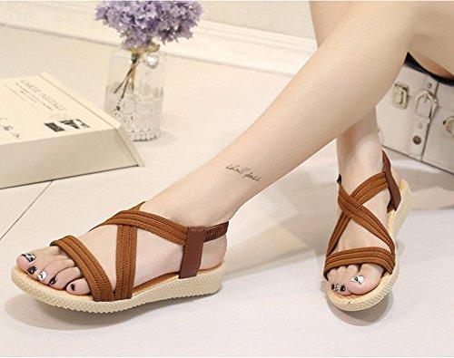 Minetom Femme Fille Été Plage Confortableable Chaussures Bohemian Sandales Plat Peep Toe Loisir Cuir D'extérieur Sandales Marron jB73JrpL98