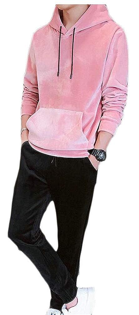 Pcutrone Mens Drawstring Pocket 2 Piece Comfortably Velvet Hoody Sweatshirts Tracksuit