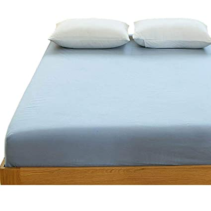 Amazoncom Cotton Queen Size Fitted Sheet Full Modern Solid Blue