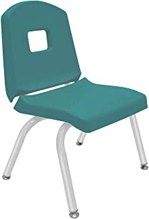 """product image for Creative Colors 1-Pack 12"""" Kids Preschool Stackable Split Bucket Chair in Teal with Platinum Silver Frame and Self Leveling Nickel Glide"""