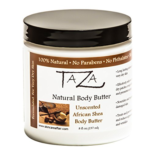 Premium Taza Natural Unscented African Shea Body Butter, 8 f