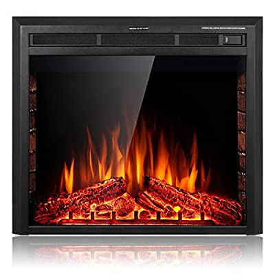 SUNLEI Electric Fireplace Insert, Built in & Freestanding Electric Heater, LED Adjustable Flame with Fireplace logs Touch Screen,Remote Control,Timer, 750W-1500W